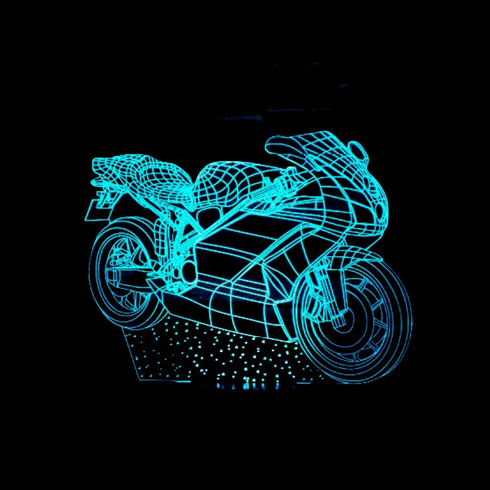 Led8N 3D LED Optical Illusion Lamps Night Light,7 Colour Changing LED Bedside Lamps for Kids with Acrylic Flat,ABS Plastic Base,USB Charger Motorcycle