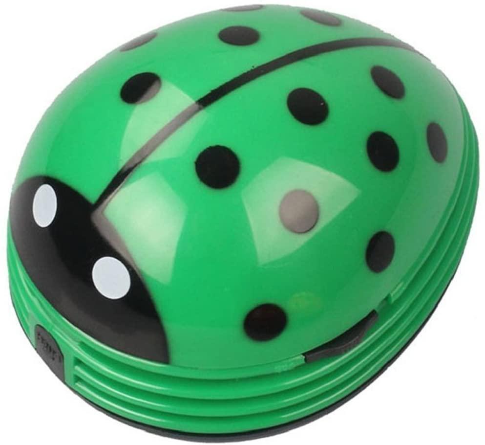 E ECSEM Mini Portable Handheld Cordless Tabletop Crumb Sweeper Desktop Dust Vacuum Cleaner Cute Beetle Ladybug Battery Operated (Green)