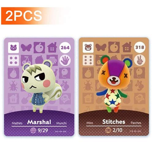 No. 264 Marshal & No.318 Stitches Animal Crossing Amiibo Cards Series 3.4. Third Party NFC Card. Water Resistant - 2pcs
