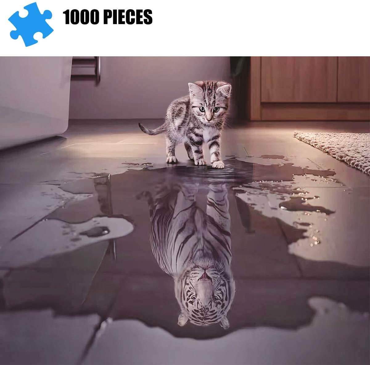 Puzzles for Adults 1000 Piece Jigsaw Puzzle -Tiger with Heart Educational Intellectual Decompressing Toy Fun Family Game for Kids Adults 830
