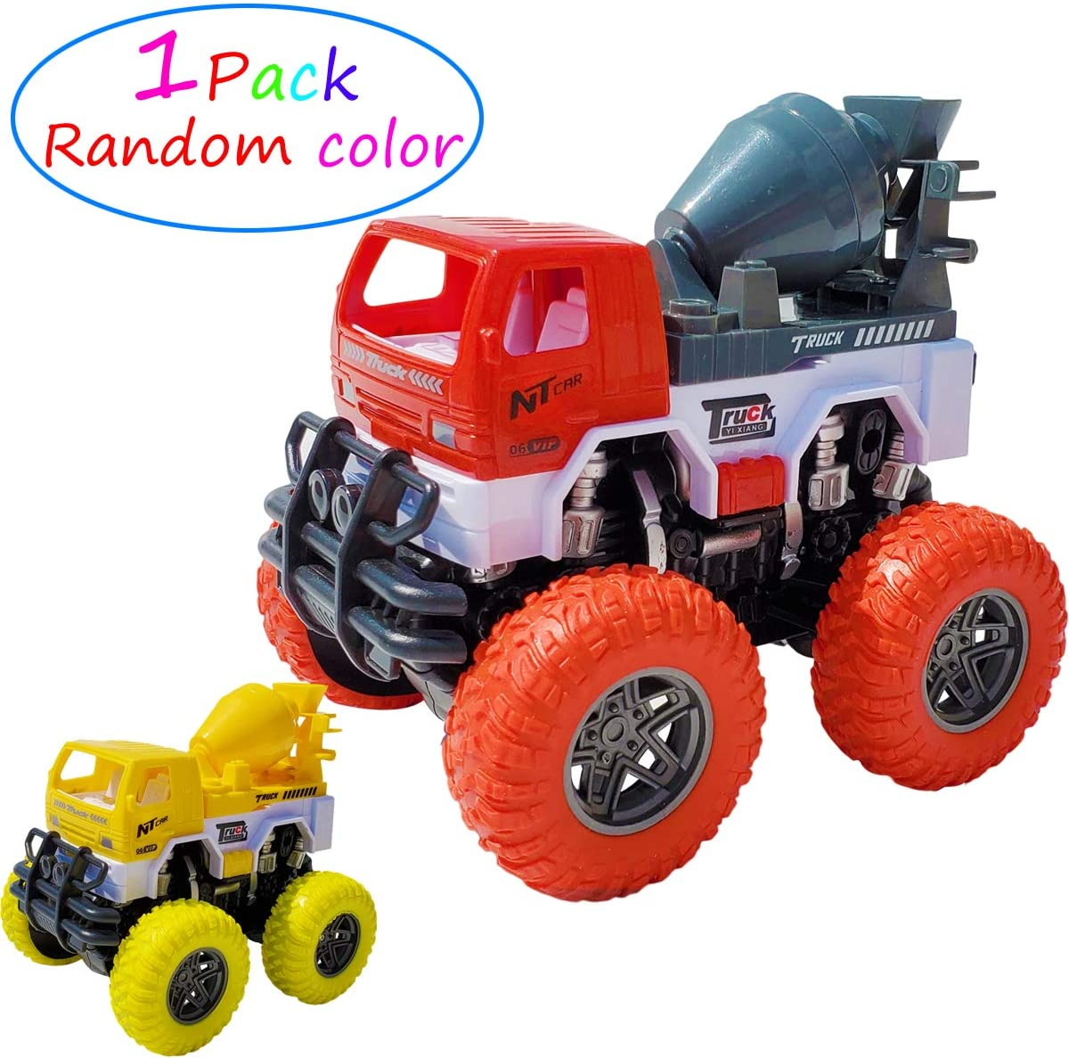 Tockrop Push and Go Construction Vehicle Mixer Truck Toy Big Wheel Friction Powered Car | Inertia Force Vehicle Toy | Great Present for Toddlers Boys Girls and Kids 09