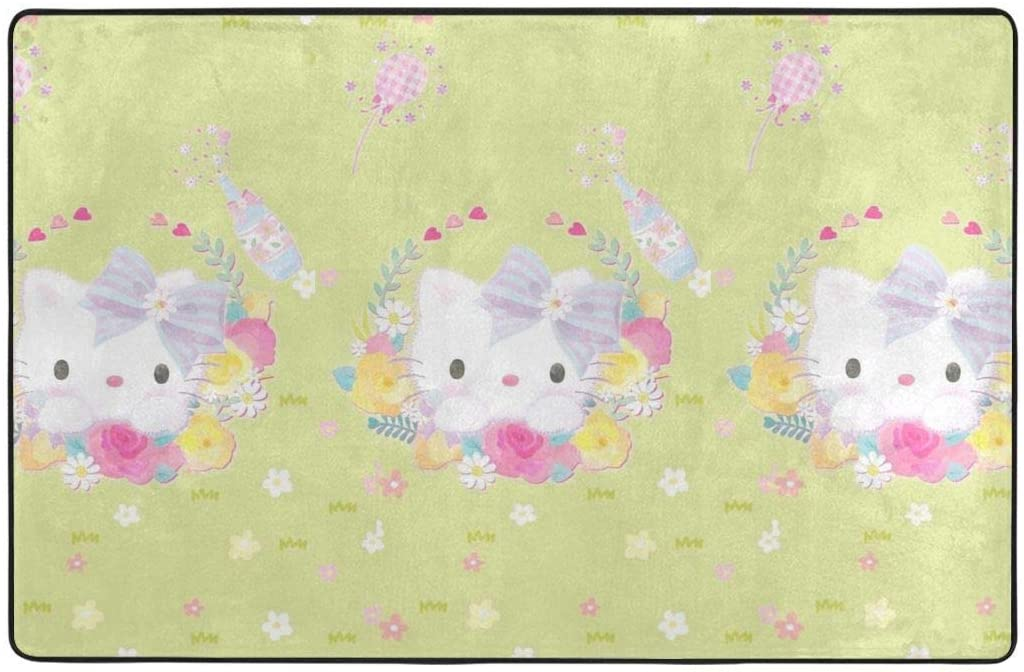 Large Soft Flannel Area Rug Anti- Skid Hello Kitty with Floral Carpet Bedroom Kids Room Mat Home Decor- 60 X 39 in