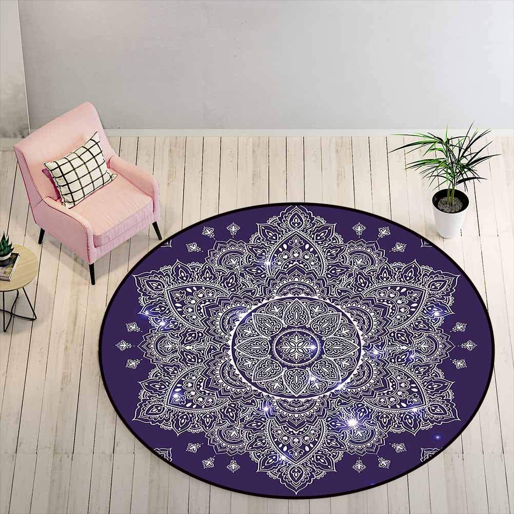 Kids Rugs for Bedroom Boys Bath Mat Floral Ornament Tribal Spring Round with Paisley Inspired Retro, 3 ft Diameter, Purple White