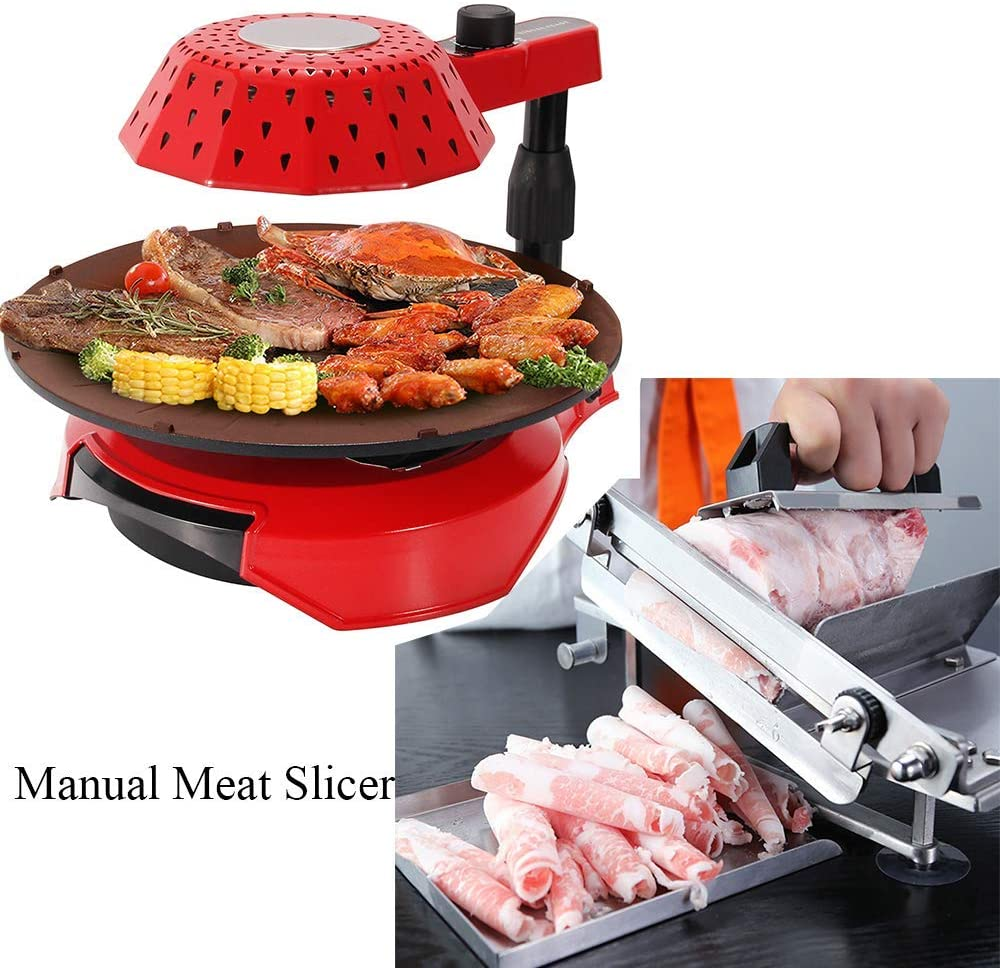 Moongiantgo Electric Barbecue Grill Smoke + Manual Frozen Meat Slicer Set Stainless Steel