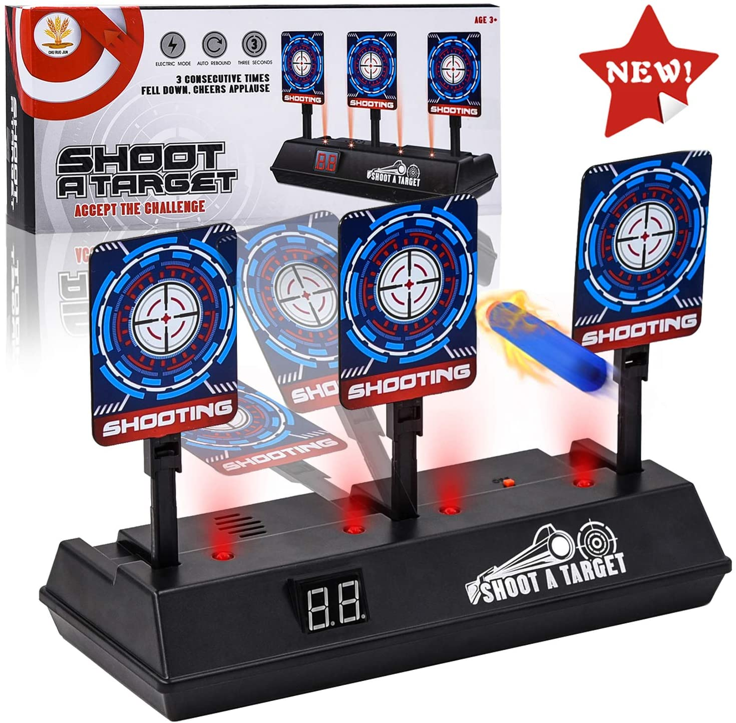SWEE Electric Scoring Auto Reset Shooting Digital Target for Nerf Guns Blaster Elite/Mega/Rival Series