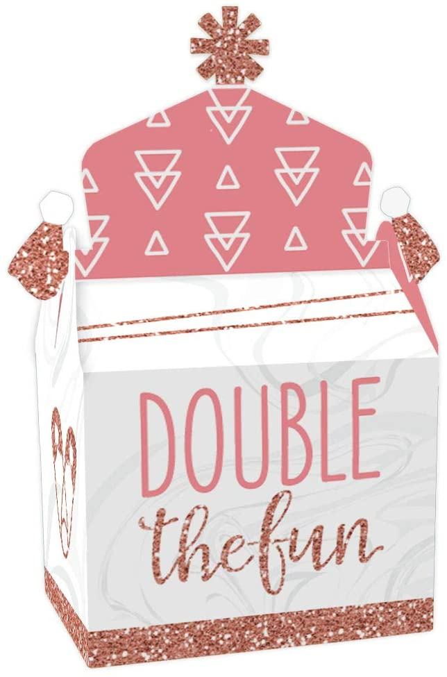 Big Dot of Happiness It's Twin Girls - Treat Box Party Favors - Pink and Rose Gold Twins Baby Shower Goodie Gable Boxes - Set of 12