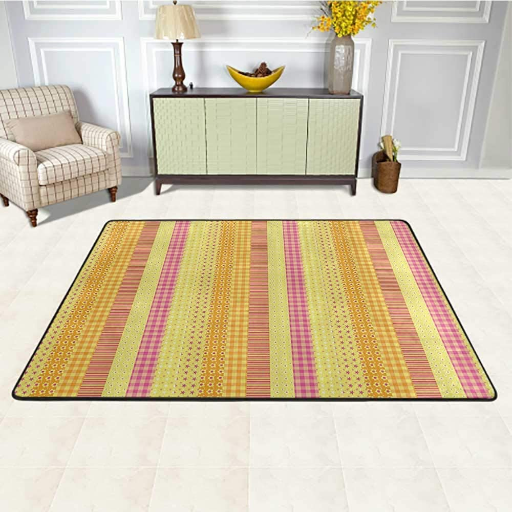 Floral Kids Rug 4' x 6', Flowers Stars Stripes Mix Patchwork Style Motif Kids Baby Playroom Design Non-Slip Rug, Yellow Marigold Pink