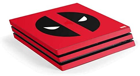 Skinit Decal Gaming Skin for PS4 Pro Console - Officially Licensed Marvel/Disney Deadpool Logo Red Design