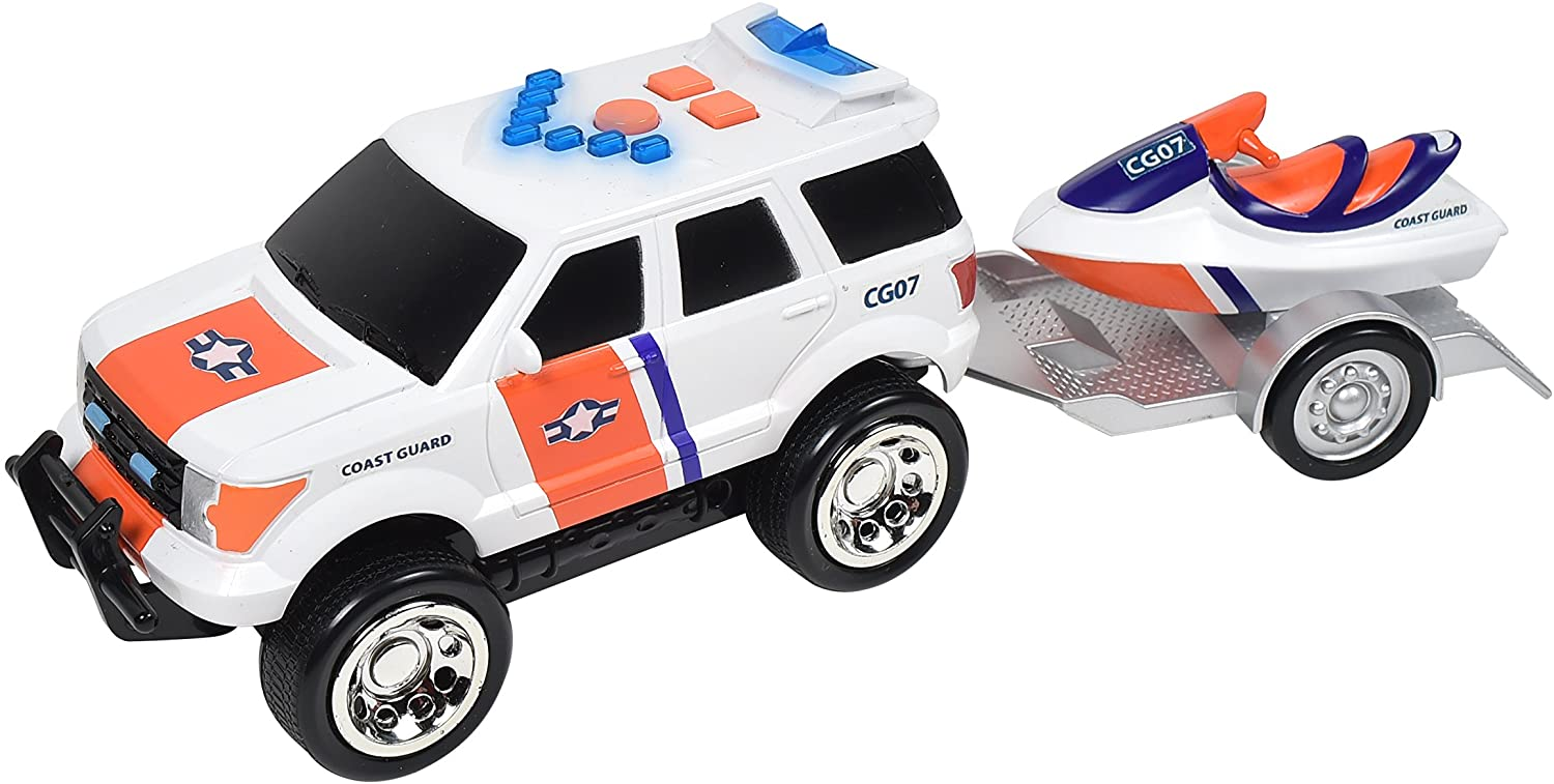 Fire and Rescue Trailers – Lights and Sounds Pull Back Toy Vehicle with Friction Motor (Receive Either the Jet Ski or ATV Color May Vary) – Maxx Action