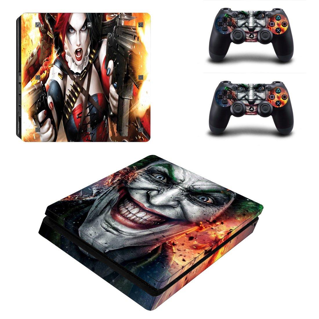 Adventure Games - PS4 SLIM - Harley Quinn and Joker - Playstation 4 Vinyl Console Skin Decal Sticker + 2 Controller Skins Set