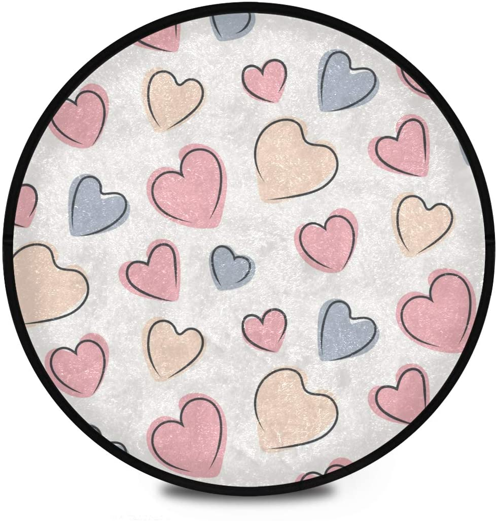 Shaggy Round Mat Valentines Day Doodle Hearts Small Round Rug for Kids Living Room Anti-Slip Rug Room Carpets Play Mat