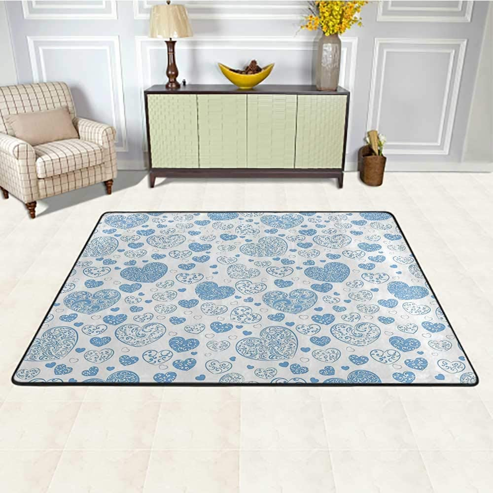 Love Decor Collection Kids Area Rugs 5' x 8', Pattern of Big and Small Hearts with Curls Classical Pleasure Fun Illustration Image Kids Carpet, Blue and White
