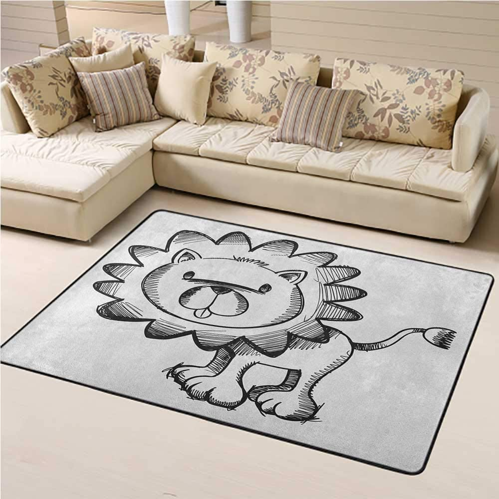Kids Area Rugs Doodle Easy to Clean and Remove Dust Sketchy Baby Lion African Wildlife Character Safari Jungle Savanna Habitat Theme 6 x 9 Ft Black White