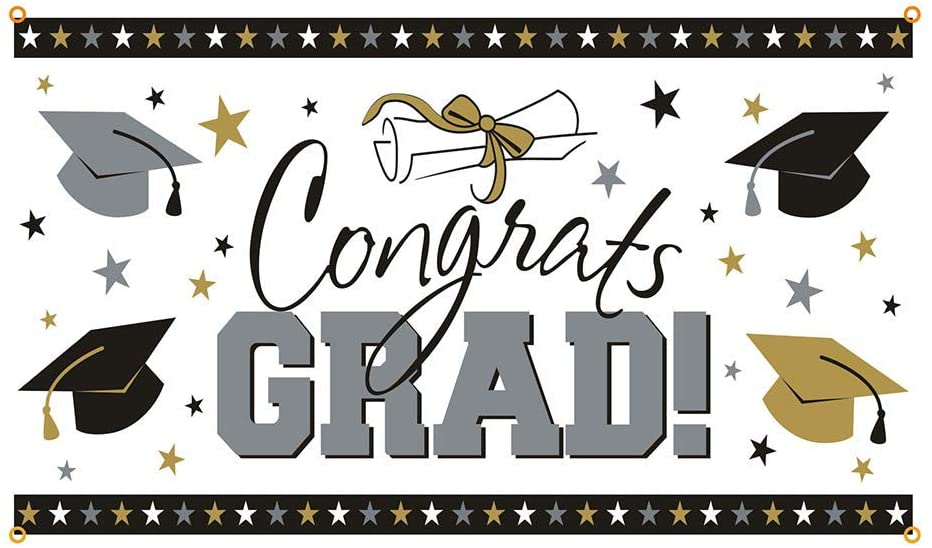 2020 Indoor and Outdoor Graduation Banner Party Decorations Supplies Graduation Party Favor Photo Background Banner (B)