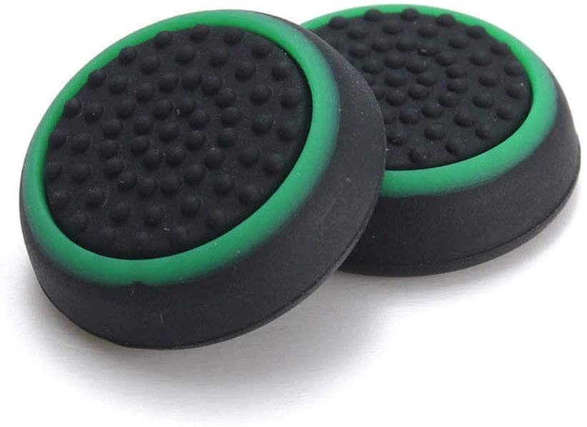 Silicone Thumb Stick Joystick Cap Analog Grip Thumbsticks Cap Cover Case for PS4 PS3 Xbox One Xbox 360 Game Controllers (Black-Green)