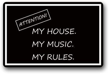 ZMvise Flannel Carpet Decorative Doormats Funny Quotes Attention My House My Music My Rules Non-Skid Indoor Outdoor Doormats 18x 30inch