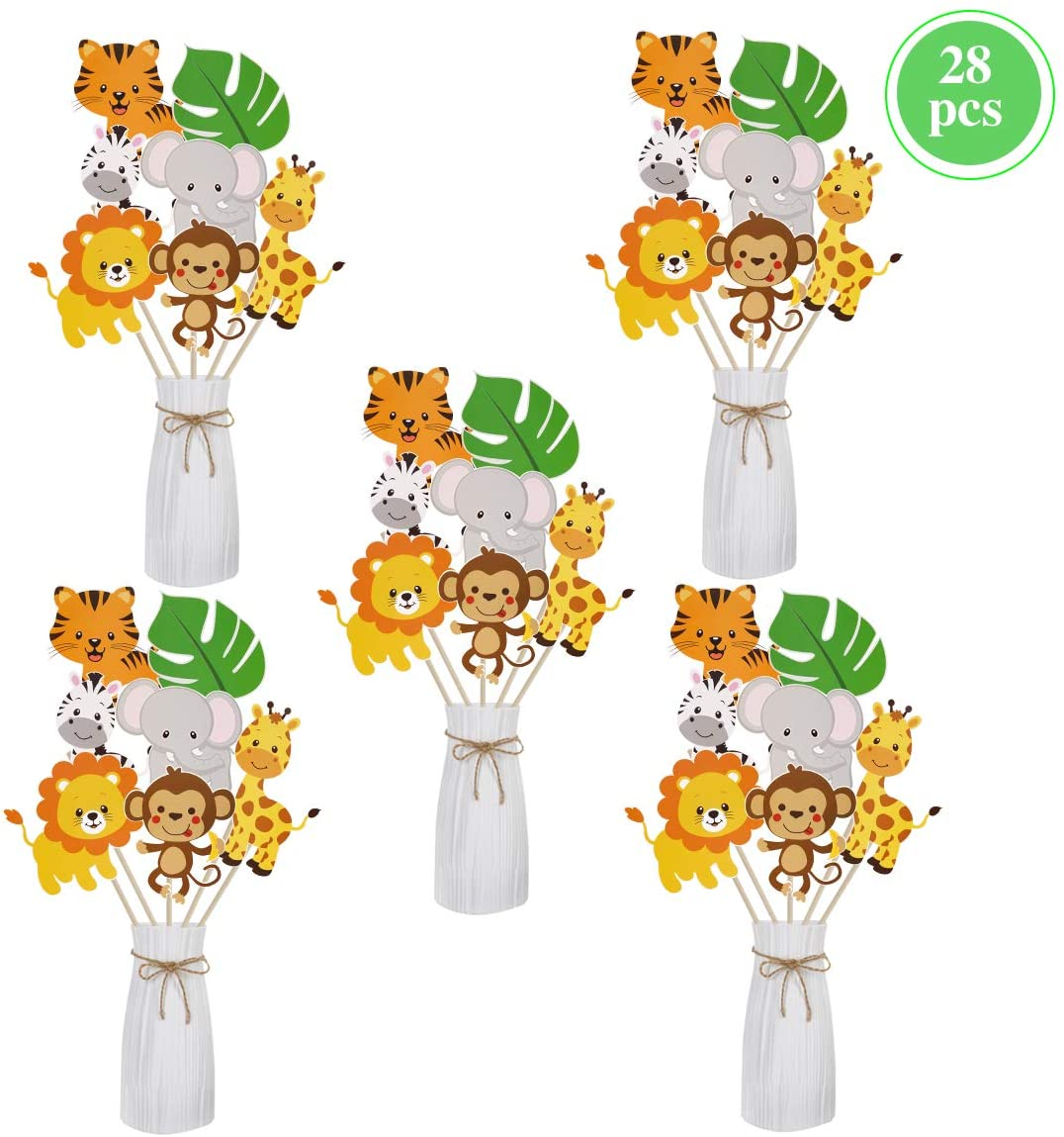 Jungle Safari Party Decorations Supplies - Jungle Animal Birthday Party Centerpiece Sticks, DIY Safari Animals Table Decorations for Baby Shower, Table vase Toppers Birthday Decorations, Jungle Animal Party Favors