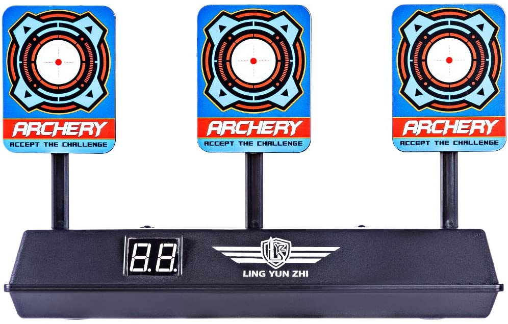 Linpote Target for Nerf Electric Automatic Score Target Auto Reset Shooting Target Self Rearing Targets on a Table with Intelligent Light Sound Effect for Nerf Soft Bullet Gun Toy