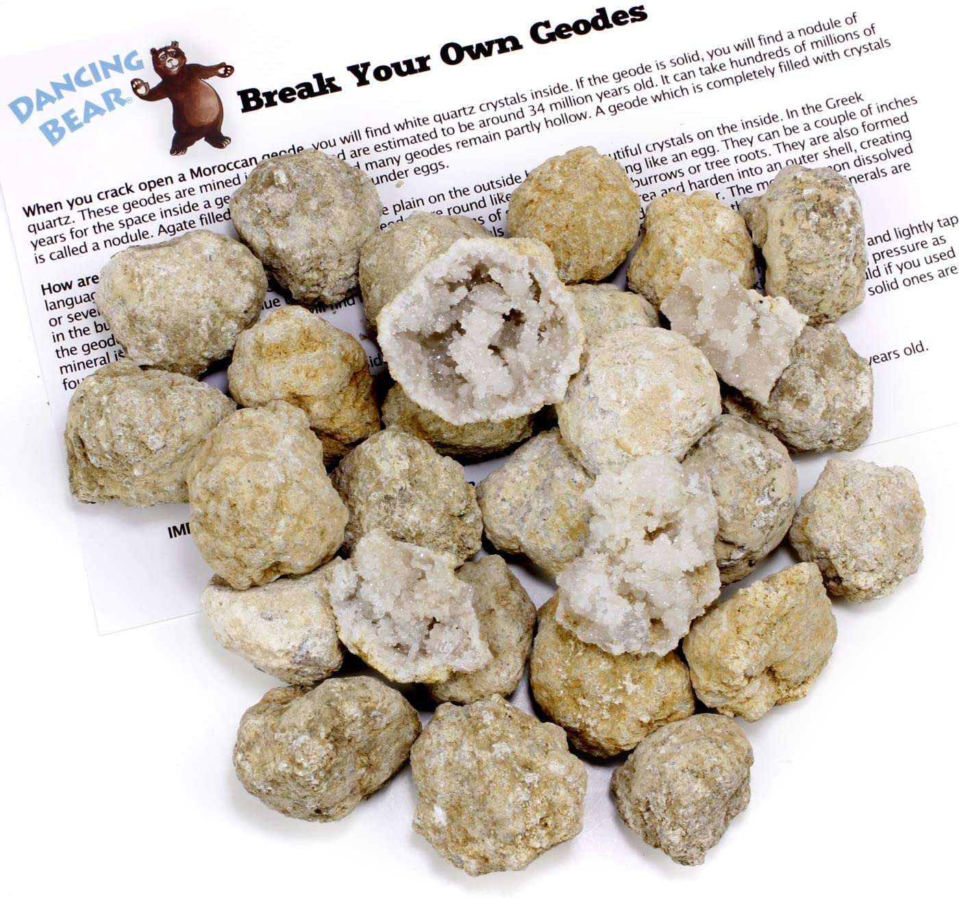 "Dancing Bear 25 Break Your Own Geodes, 90% Hollow-Small ( 1-1.5"") Crack Open & Discover Amazing Surprise Crystals Inside! Educational Info and Instructions Included, Fun Party Favors & Prizes, Brand"