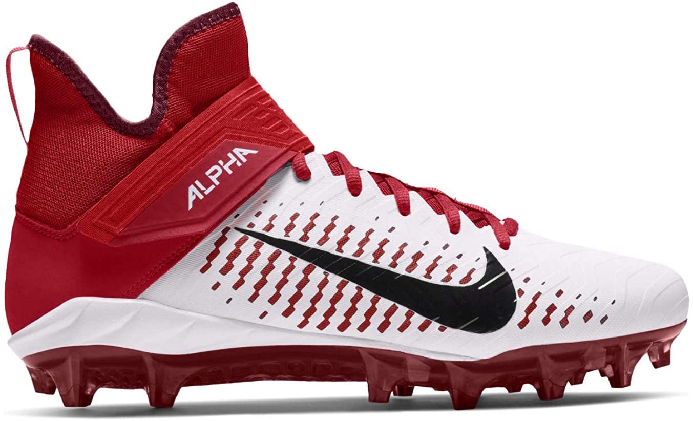 Nike Men's Alpha Menace Pro 2 Mid Football Cleat White/Black/University Red Size 8 M US