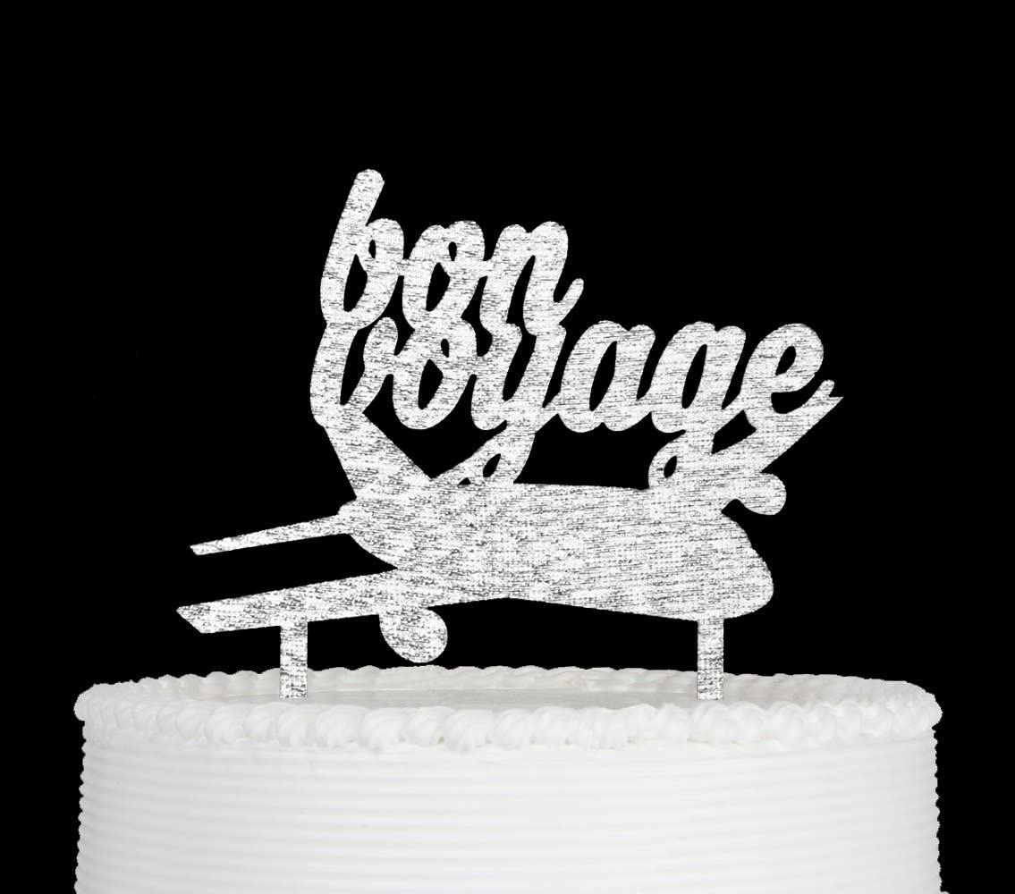 Qttier Bon Voyage Cake Topper Going Away Moving Away Party Decorations (Sliver)