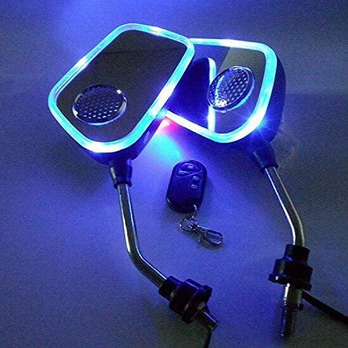 DE.SOUL Motor Rearview Mirror MP3 FM Radio Anti-Theft Alarm Speaker Blue Light Silver
