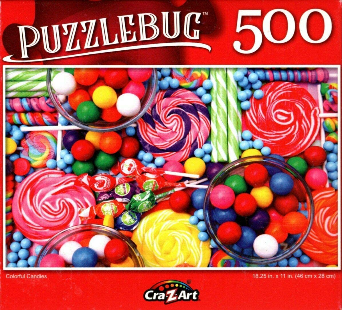 Colorful Candy Bar with Bubblegum and Lollipops 500 Piece Jigsaw Puzzle