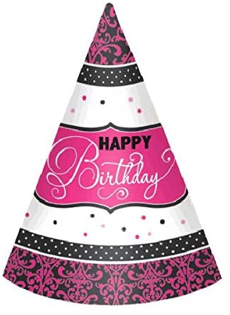 Elegant Black and Pink Birthday Party Paper Cone Hats , Pack of 12, Black/Pink/Silver , 7