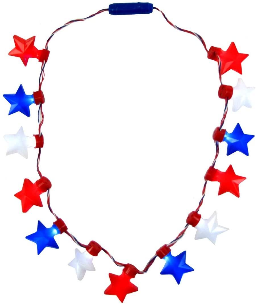 TG,LLC Treasure Gurus Light Up Red White Blue Star Flashing LED Bulb Necklace Glowing Novelty Party Favor