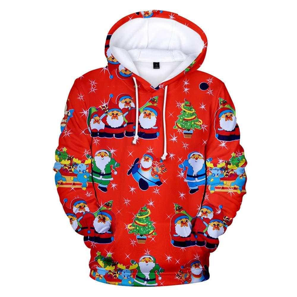 Women's Hoodies Sweatshirt Thenlian Christmas Fashion Women 3D Christmas Print Party Long Sleeve Hooded Sweatshirt