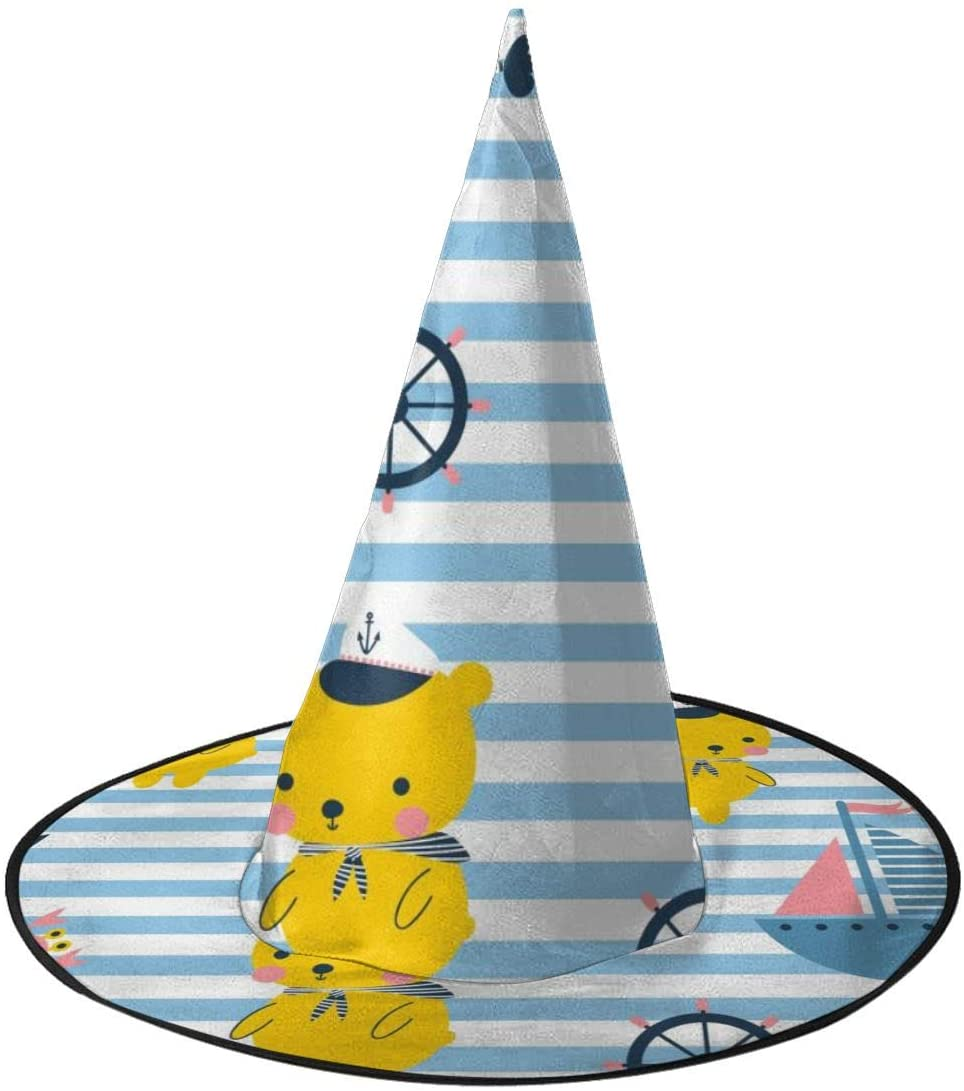 Halloween Witch Hat,Cute Sailor Bear, Yacht, Fish Halloween Costume Witch Hat for Holiday Party