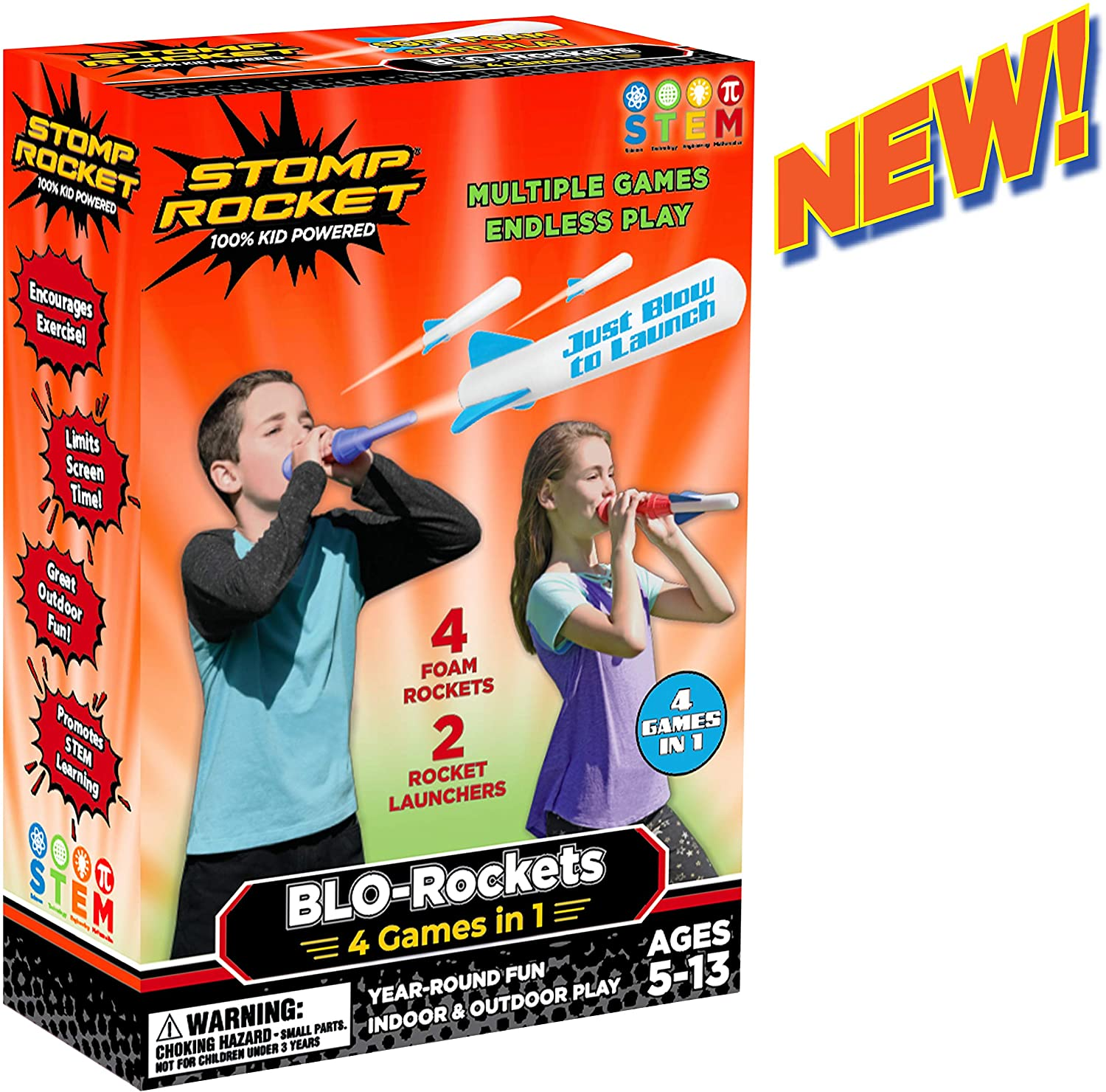 Stomp Rocket New BLO-Rockets - Includes 2 Launchers, 4 Rockets - Indoor and Outdoor Rocket Toy Gift for Boys and Girls Ages 5 (6, 7, 8) and Up