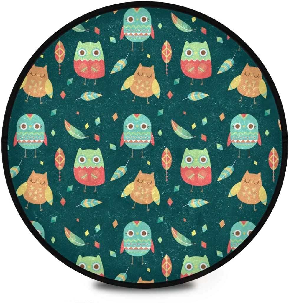 Shaggy Round Mat Cartoon Owls Small Round Rug for Kids Playroom Anti-Slip Rug Room Carpets Play Mat