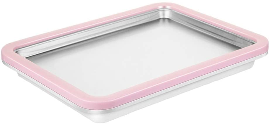 SEAAN Instant Ice Cream Maker Pan with2 Ice Cream Spade, Scraper and Recipes (Pink)