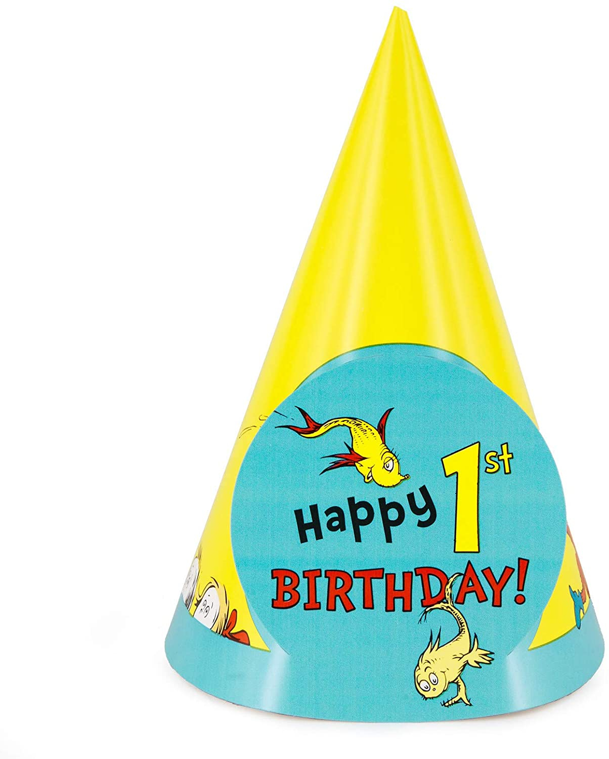 Dr Seuss 1st Birthday Party Supplies - Cone Hats (8)