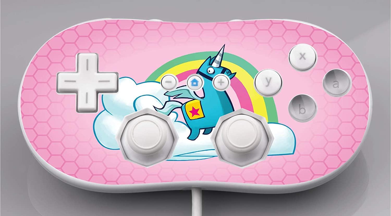 Rainbow Unicorn Pink Background Design Vinyl Decal Sticker Skin by egeek amz for Wii Classic Controller