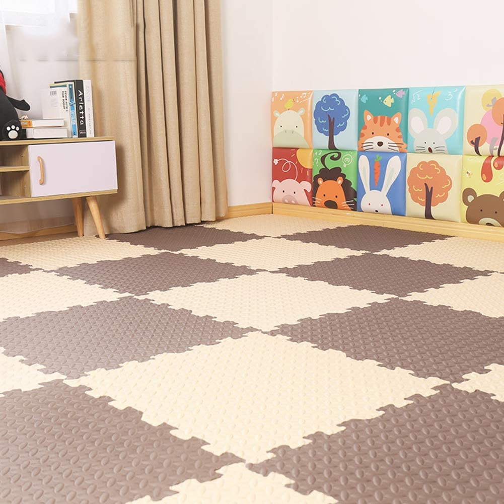 HOMRanger Solid Puzzle Interlocking Carpet,pe Padding Soft Floor Tiles Play Mat for Hard Tiles Bedroom Living Room Exercise Play C 60602.5cm(9 Pack)