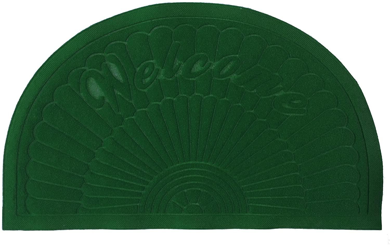Bott Rubber Doormat Indoor Outdoor Half Round Door Mat Entrance Rug Floor Mats 20'' 32'' (Dark Green)