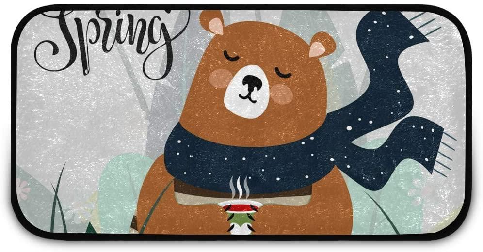 Rectangle Shaggy Rug Rugs Kitchen for Kids Spring Cute Bear Farmhous Anti-Slip Rug Rectangle Carpet Play Mat