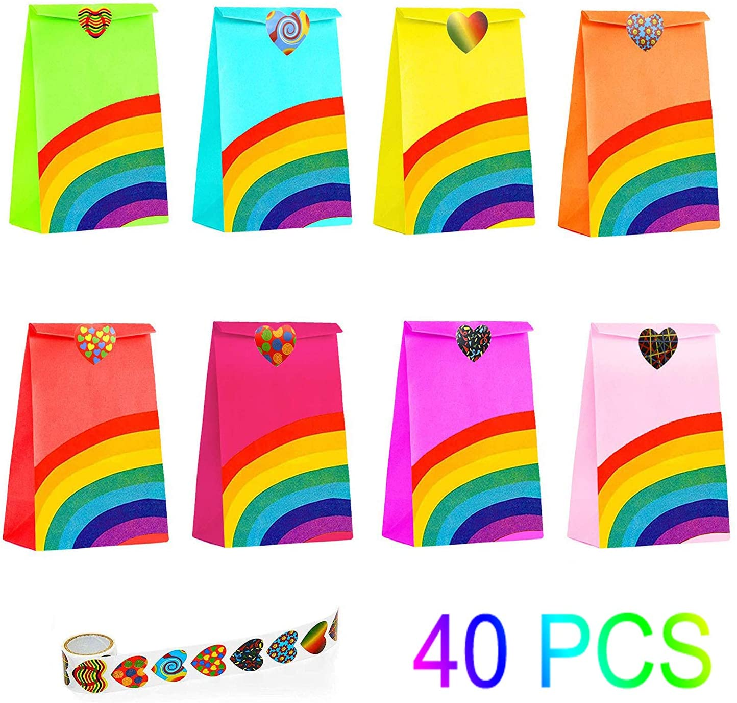 40 Pieces Rainbow Party Bags with 100 Heart Stickers Kraft Paper Favor Bag Paper Candy Goody Small Bag ,Kids Birthday Parties, Wedding, Carnivals, Celebrations, Classroom Halloween Party Supplies Prime