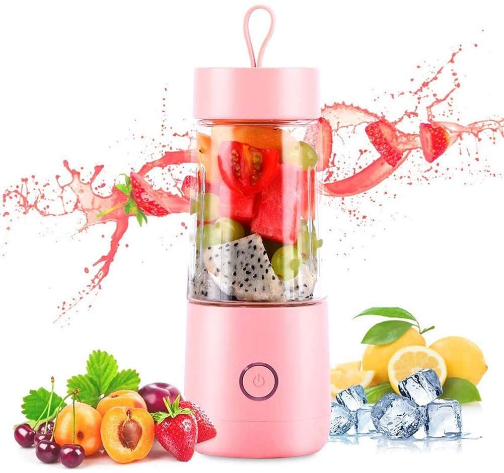 Portable Blender, Mini Personal Juicer,USB Rechargeable Cordless Small Juicer Cup Smoothie Blender Maker for Home, Office, Sports,Outdoors,Pink