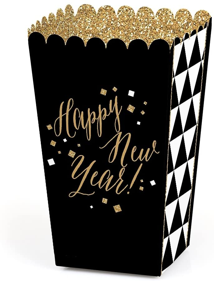 New Year's Eve - Gold New Years Eve Party Favor Popcorn Treat Boxes - Set of 12
