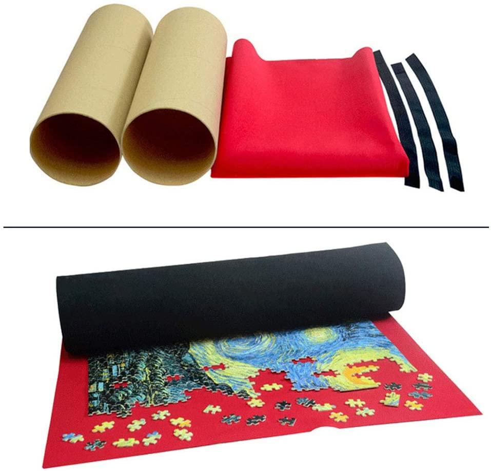 Puzzle Roll Up Mat, Jigsaw Puzzle Board Portable Puzzle Mat for Puzzle Storage for 500-2000 Pieces Puzzle Blanket Accessories with Fixing Rope