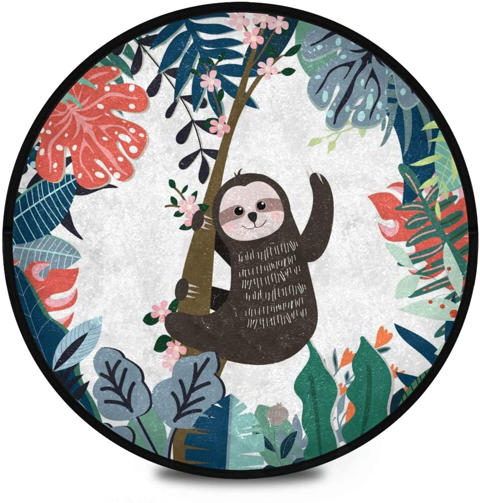 Shaggy Round Mat Cute Sloth Spring Forest Round Rug for Kids Playroom Anti-Slip Rug Room Carpets Play Mat