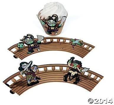 Zombie Pirate Cupcake Collars - 24 pcs