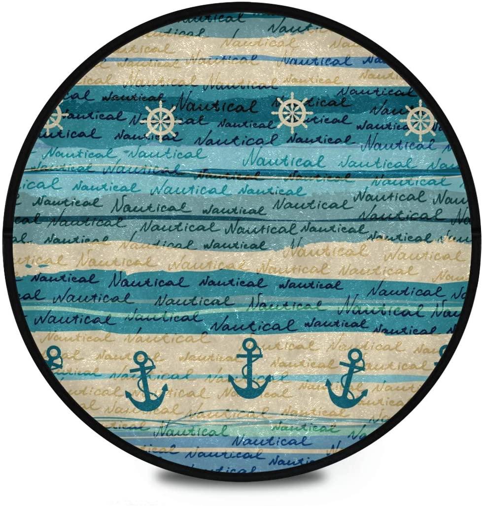 Shaggy Round Mat Nautical Round Rug for Kids Living Room Anti-Slip Rug Room Carpets Play Mat
