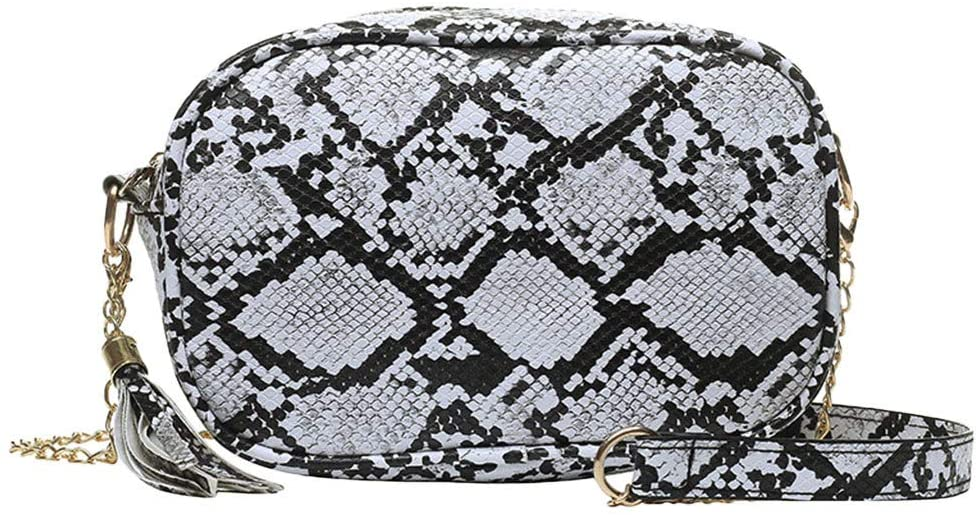 Yiwanjia Women's Fashion Snake Pattern Shoulder bag with Tassel zipper Multi-Use Shoulder bag Handbag Beach bag with Removable Golden Chain (White ◕ˇ∀ˇ◕)