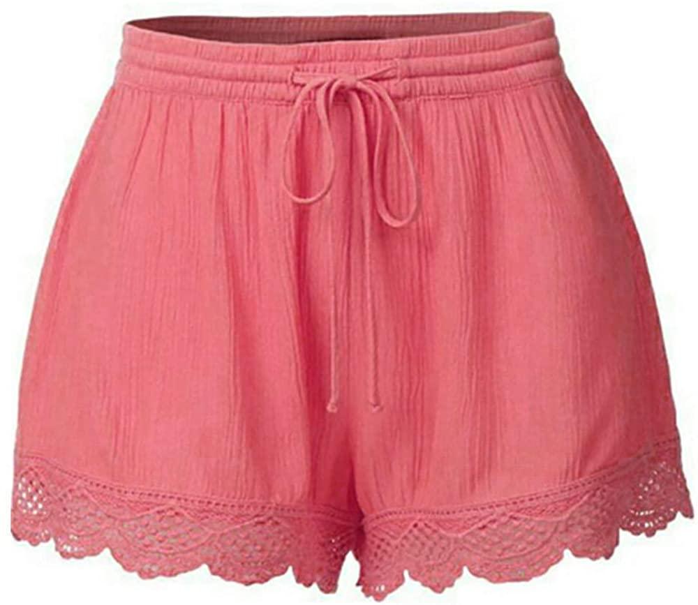 Drawstring Shorts, Thenlian Fashion Women Lace Plus Size Rope Tie Shorts Yoga Sport Pants Leggings Trousers