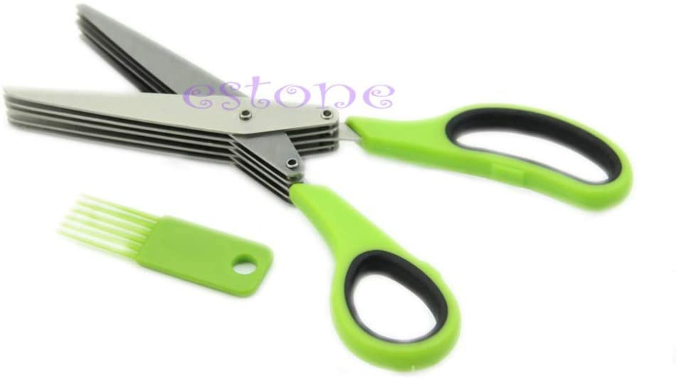 H-Honetuk 5 Layers Stainless Steel Scissors Tools Five Green Onion Cut Multifunction Knife