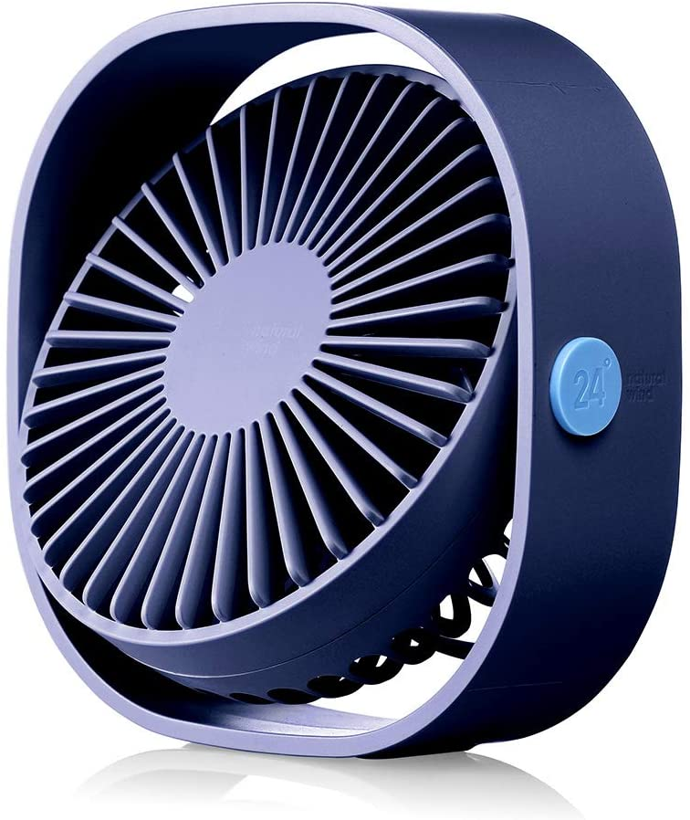 HOPEME 4 Desk Personal Fan with 3.8ft USB Cable, 3 Speeds and 360° Rotatable Vertically Blue Color Mini Small Fan, Quiet Operation and Strong Wind,Suitable for Office Home